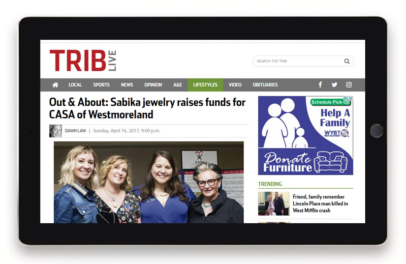 Sabika in Trib Live for raising funds for CASA